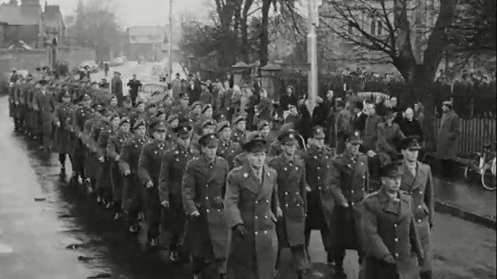 Troops parading to military church at Arbour Hill, 1963