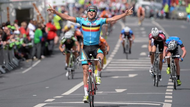 Moreno De Pauw (Belgium National Team) celebrates on the approach to the finish line to win stage five of the An Post Rás