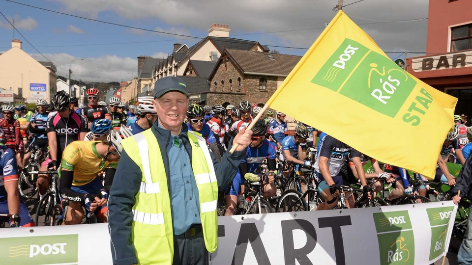 Postman Tim Walsh of Glengariff Post Office, Co Cork, at the start line of stage five of the 2013 An Post Rás