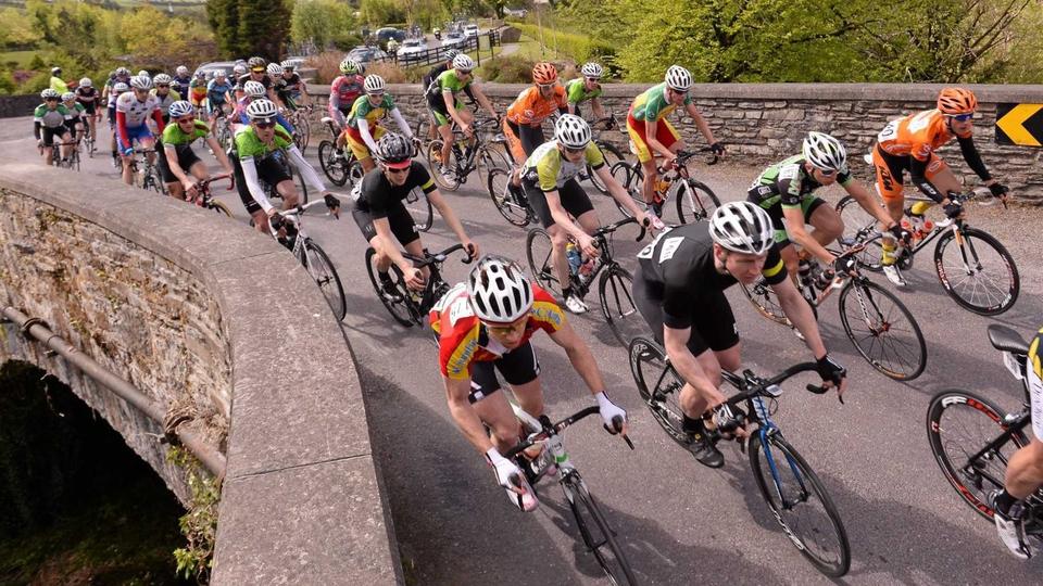 The peloton crossing the bridge in Kealkill, Co Cork