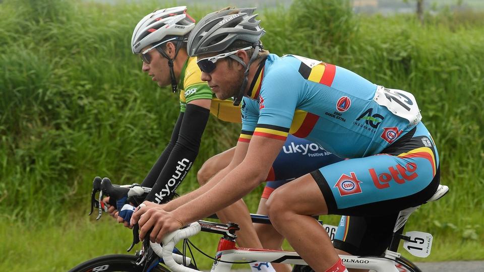 Yellow-jersey wearer Bialoblocki and Belgium's Moreno De Pauw ride side-by-side