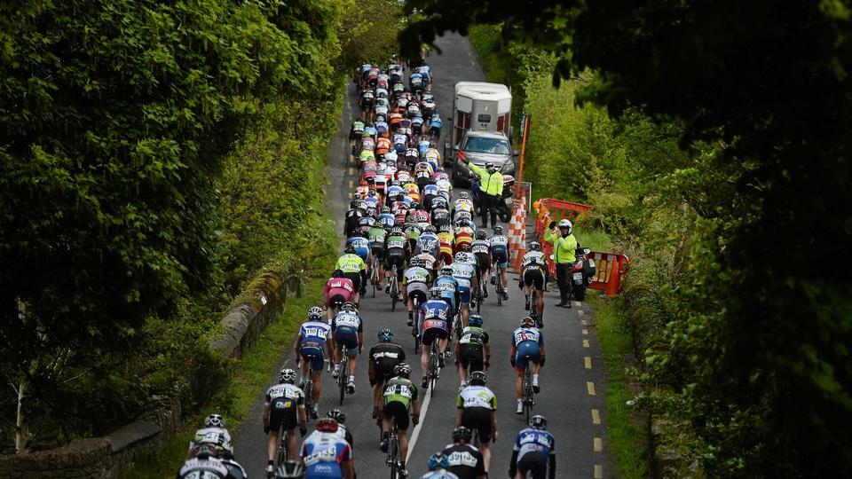 The peloton leave Doneraile