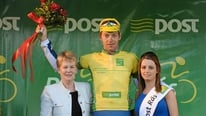 Yellow-jersey holder Marcin Bialoblocki comments following stage five of the Rás