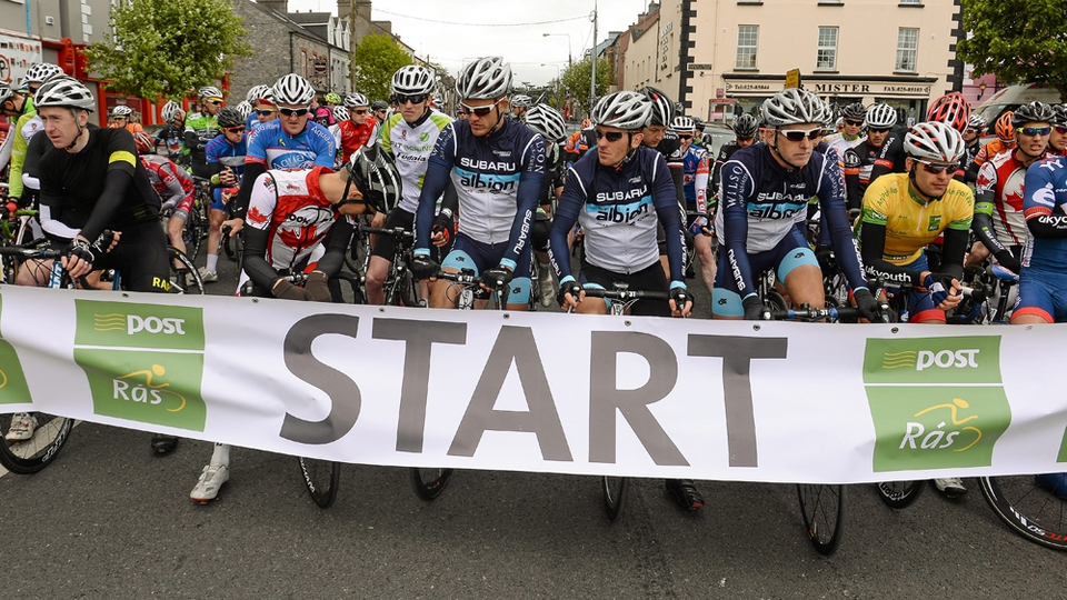 The riders prepare for the start in Mitchelstown.