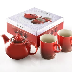 Le Creuset red teapot set, €46, available from Clerys Dublin.