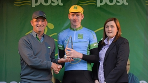 Bryan McCrystal, Louth Prague Charter Team, is presented with the county rider jersey.