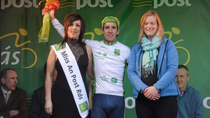 Simon Yates, Great Britain National team, is presented with the Irish Sports Council Under 23's leaders jersey.