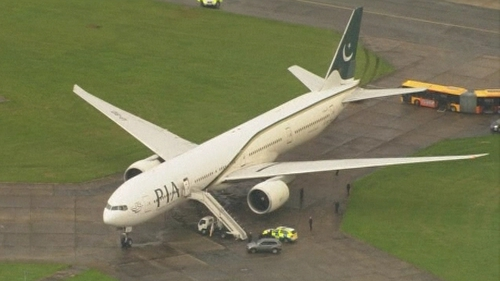A Pakistan International Airlines flight from Pakistan to Manchester was diverted to Stansted Airport in Essex