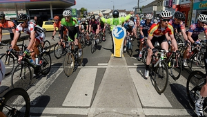 The riders navigate their way out of Carlow.