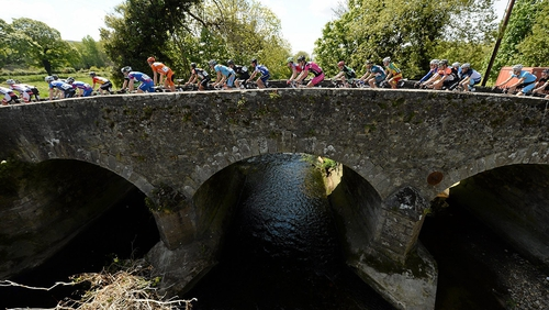 The peleton passes over a bridge in Shillelagh, Co. Wicklow.