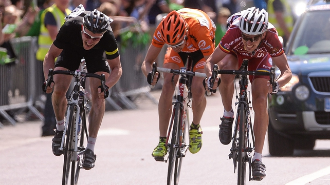 Tomas Okrouhlicky (right) won the sprint for the line on stage seven in Naas