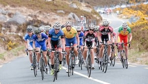 The riders in action on the climb at Slieve Corragh.