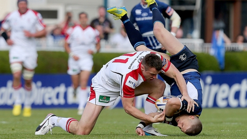 Tommy Bowe tackles Ian Madigan - both Leinster and Ulster are positioned to contend for silverware this season