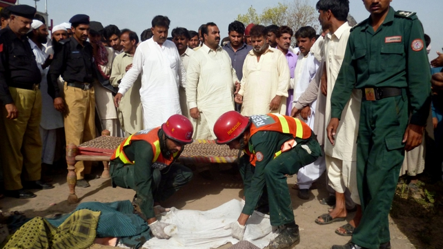 Seventeen people died after a gas cylinder exploded on a schoolbus in Pakistan