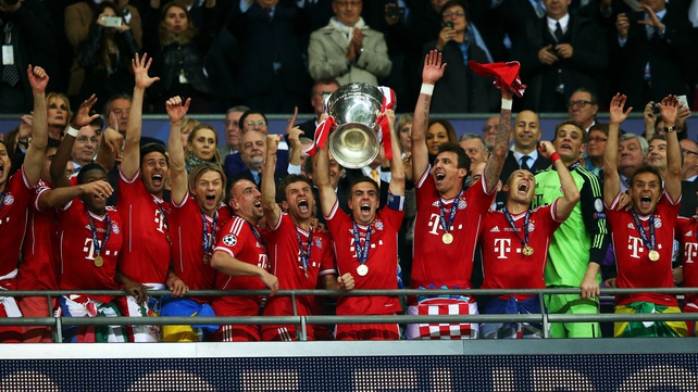 The stars of FC Hollywood celebrate their Wembley win as captain Philipp Lahm hoists the Champions League trophy aloft