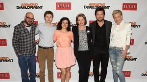 They're back! (L-R) Actors David Cross, Michael Cera, Alia Shawkat, Jessica Walter, Jason Bateman and Portia de Rossi