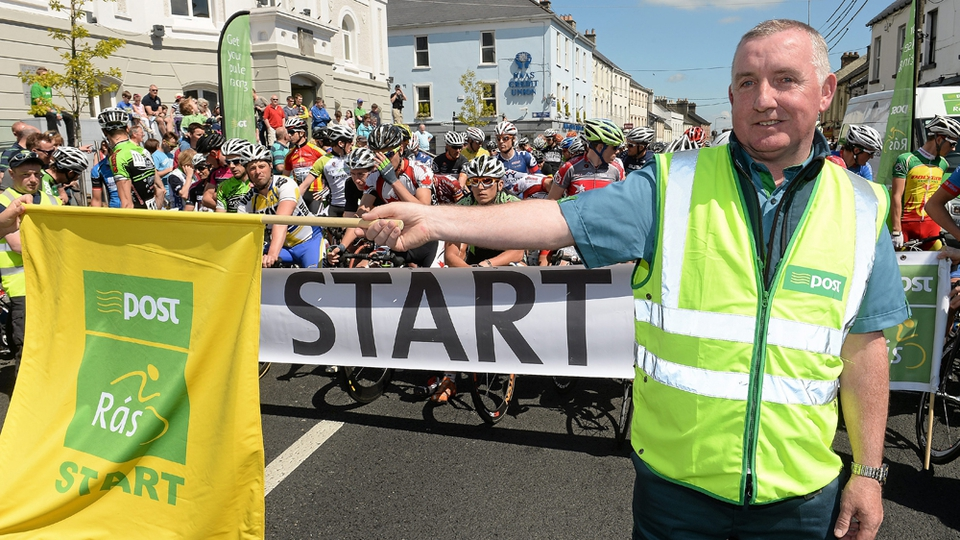 Joe O'Neill, Naas Post Office, Co. Kildare, starts Stage 8 of the 2013 An Post Rás.