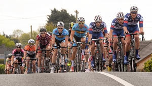 The peloton makes its way through Newbridge, Co. Kildare.