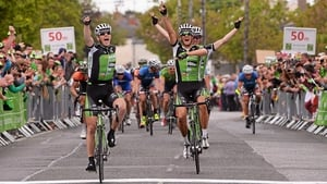 An Post Chain Reaction cyclists, from left, Sam Bennett, Nicholas Vereecken and Shane Archbold cross the finish line in 1st, 2nd, and 3rd place at Skerries.