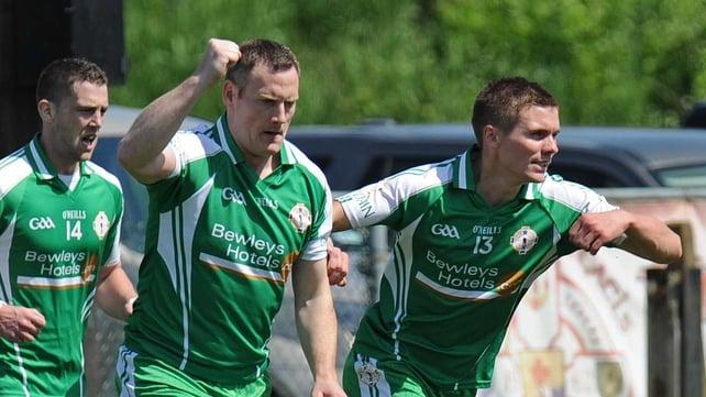 Lorcan Mulvey celebrates his goal with Padraig McGoldrick