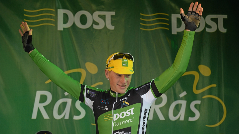 Stage winner Sam Bennett on the winners podium for the second time in the Rás