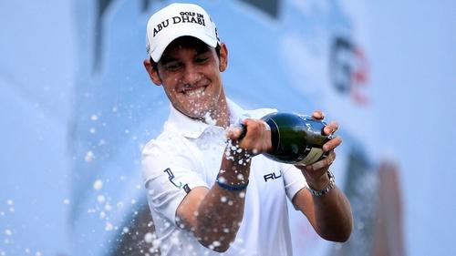 Matteo Manassero celebrates his victory at Wentworth