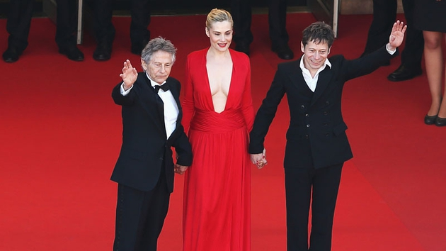 Roman Polanski, Emmanuelle Seigner and Mathieu Amalric