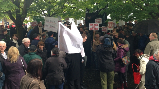 Around 200 people gathered outside the court