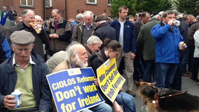 The Irish Farmers' Association has been protesting outside Dublin Castle