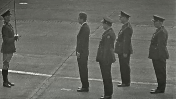 President Kennedy inspecting the guards at Dublin Airport, 1963
