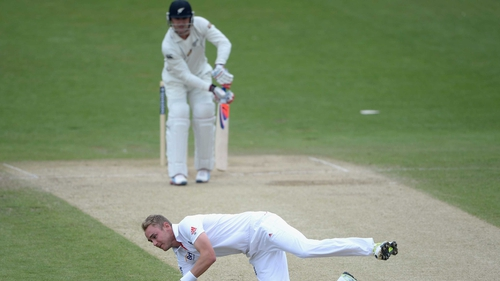 Stuart Broad of England catches out New Zealand captain Brendon McCullum