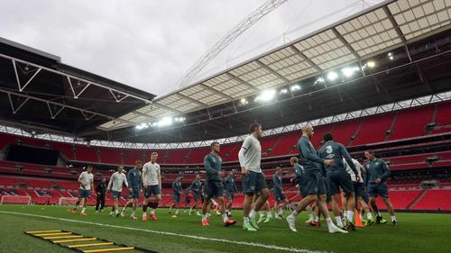 The Irish team training on the hallowed Wembley turf