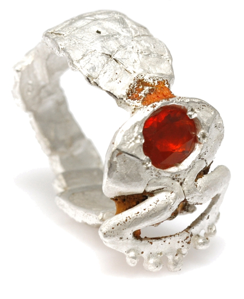 Silver enamel and fire opal ring by Eily O'Connell