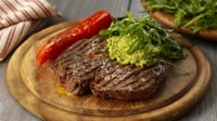 Rib eye steak, Ramiro peppers, crushed avocado and Rocket - Paul Flynn provides this succulent steak recipe, using Lidl Ireland products.