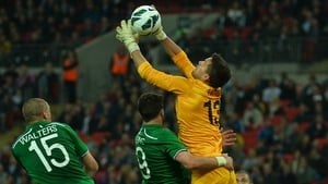 The ball squirms out of the grasp of England goalkeeper Ben Foster as he tries to claim a high ball in his area during the international friendly football match between England and the Republic of Ireland