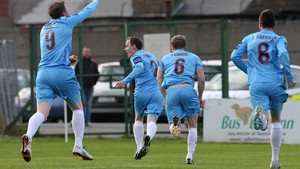 Drogheda celebrate after Stephen Quigley put them ahead at Dalymount Park