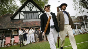 Batsmen of the Wisden XI and the Authors XI take to the field for a Victorian cricket match at London's Vincent Square