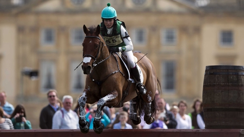 Sarah Ennis, seen here in action at Badminton, is up to fifth after the cross-country at Tattersalls