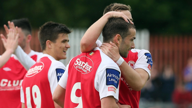 Christy Fagan celebrates his opening goal for St Patrick's Athletic in their 4-0 win over UCD.