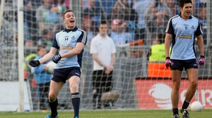 They too recorded a facile win over opponents Westmeath, 1-22 to 0-09; here Paddy Andrews celebrates his late goal