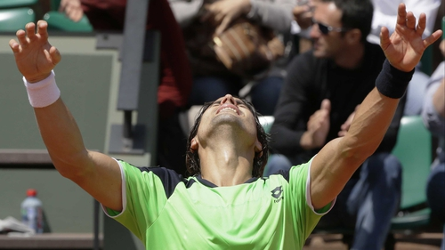 David Ferrer shows his joy at victory