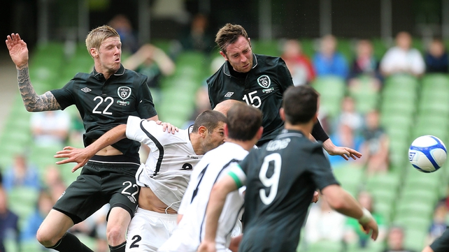 Richard Keogh heads home his first goal for Ireland
