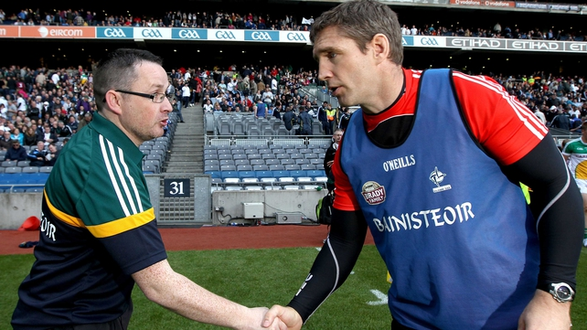 Emmet McDonnell (l): 'Losing to Kildare by four points in Croke Park is no mean feat, based on six years working under Kieran [McGeeney] versus six or seven months working under this management team'