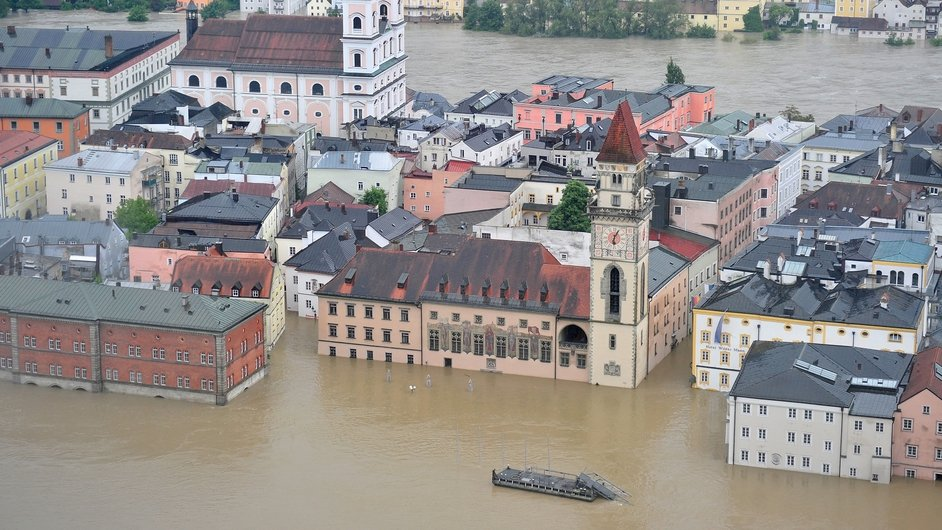 A general view of the flooded historic city centre in Passau, Germany