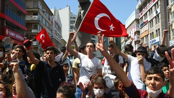 Protesters marched towards the prime minister's office in the Ankara