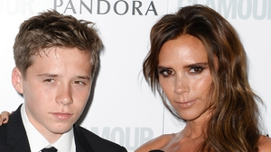 Victoria Beckham and her eldest son Brooklyn.