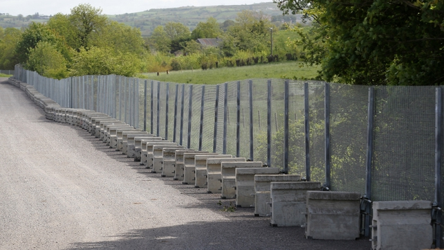 A metal security fence has been put in place near the entrance of the Lough Erne resort