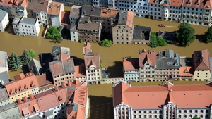 Aerial view shows the flooded city of Meissen in eastern Germany
