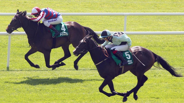 Midnight Soprano (near side) in action at the Curragh