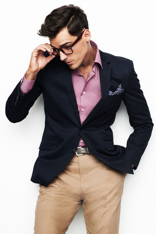 F&F blazer, €31, F&F beige trousers, €28 and a trendy F&F pink shirt €11, all available from Tesco Extra stores nationwide.